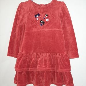 Gymboree Winter Penguin Red Velour Tiered Dress 4